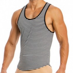 Animal Tank Top - Black - White Stripes
