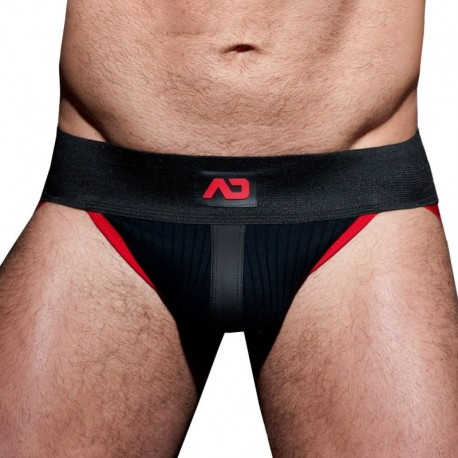 AD Fetish Rib Jock Strap - Black - Red