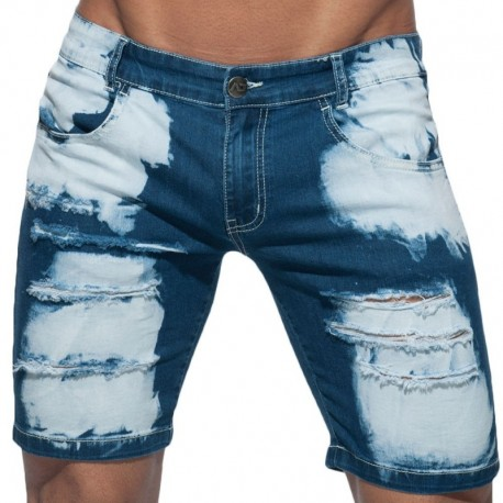 Addicted Bermuda Jeans Holes Marine