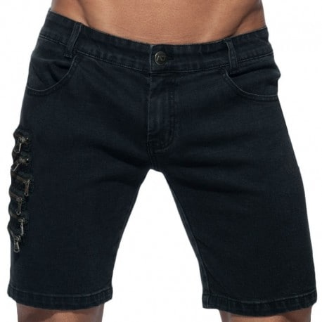 Addicted Zipper Jeans Bermuda - Black