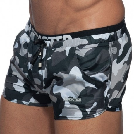 Addicted Double Waistband Swim Short - Grey Camouflage