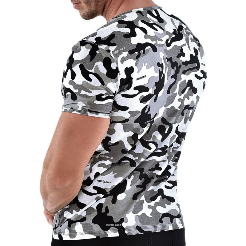 Roberto Lucca T-Shirt V-Neck Camouflage