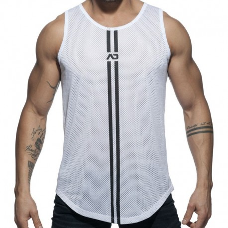 Addicted Double Stripe Tank Top - White