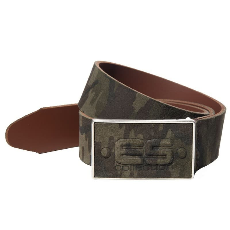 ES Collection Ceinture en Cuir Camouflage Kaki